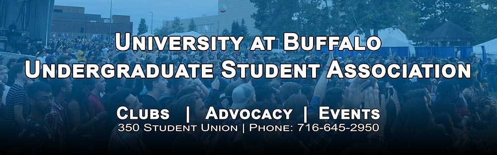 "Header image of a crowd at Fall Fest with text overlay reading ""University at Buffalo Student Association - Clubs, Advocacy, Events"". Contact info - 350 Student Union, Phone (716) 645-2950"